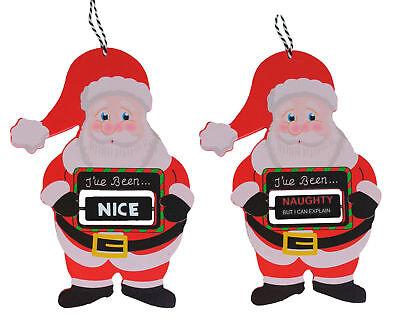 Naughty or Nice Santa Hanger - Tree Hanger Decoration Santa Claus