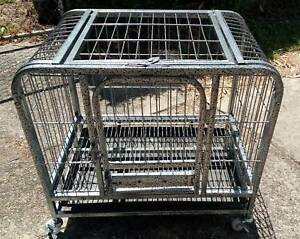 NEW MED Metal Dog/Pup/Cat Crate - ON WHEELS
