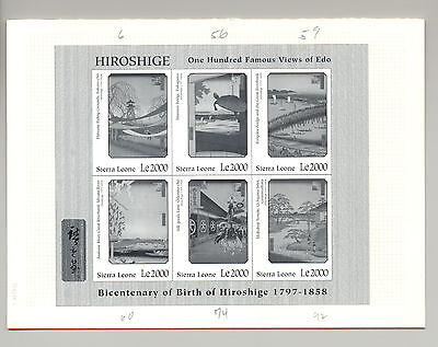 Sierra Leone #2001-03 Hiroshige M/S of 6 & 2v S/S Black Imperf Chromalin Proofs