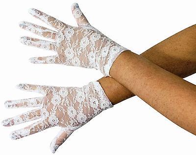 Womens White Lace Gloves 80's Madonna Cyndi Lauper Costume Accessory - Cyndi Lauper Halloween Costume