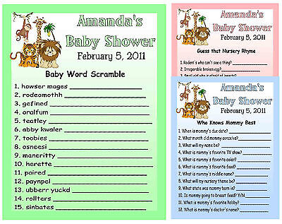 20 JUNGLE BABY SHOWER FAVORS GAME CARDS - Jungle Baby Shower Games