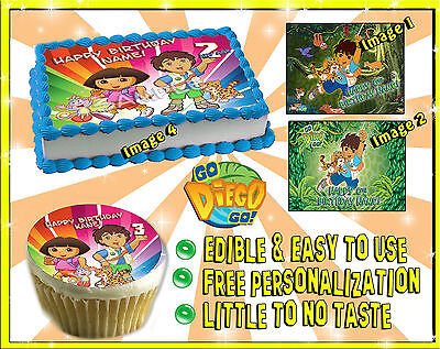 Go Diego Go cake toppers Edible image sugar decal birthday picture sheet paper - Go Diego Go Cake