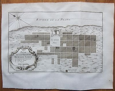 BELLIN: South America City of Buenos Aires Argentina - 1750