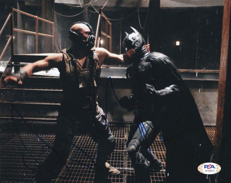 Christian Bale Tom Hardy Signed 8x10 photo Dark Knight Rises Batman PSA DNA