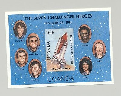 Uganda #568 Space Shuttle, Challenger 1v S/S Imperf Proof