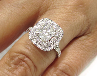 CUSHION CUT DIAMOND ENGAGEMENT RING DOUBLE HALO C20