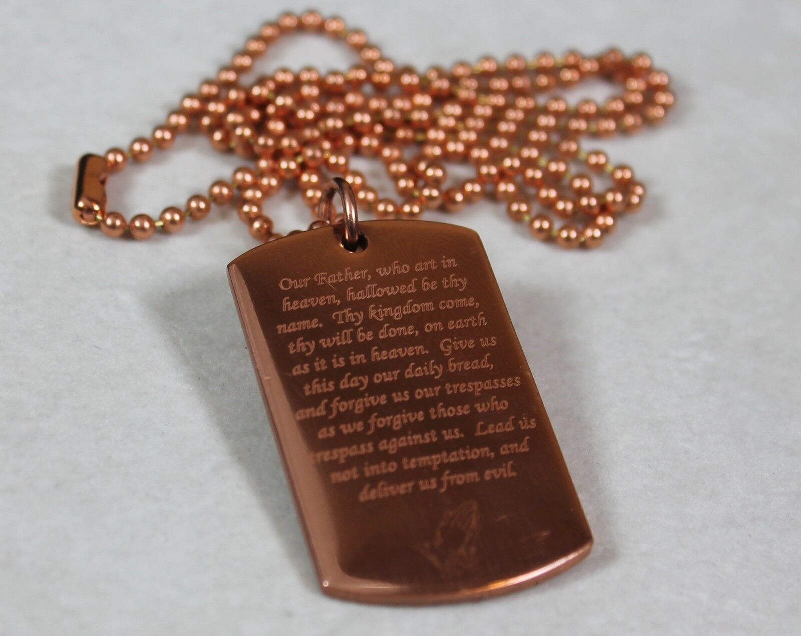 Lords Prayer Our Father Prayer Religion Solid Copper Dog