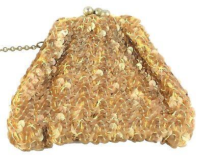 1930s Handbags and Purses Fashion Antique Woven Sequined Wristlet Kisslock Metal Framed Evening Purse 1930s $14.99 AT vintagedancer.com