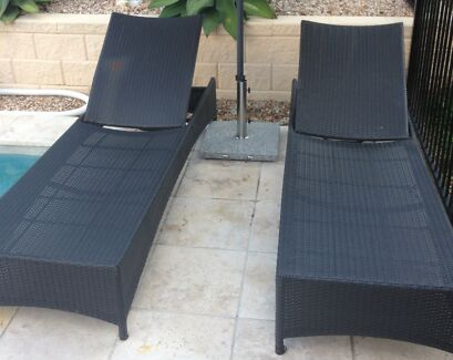 Outdoor wicker sun lounge chairs
