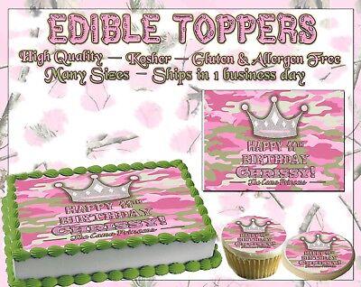 Camo Princess Edible Cake topper camouflage girl pink image sugar paper - Camouflage Birthday Cake