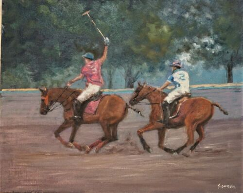 """Sean Wu original oil painting polo match, 16x20"""" on stretched canvas"""