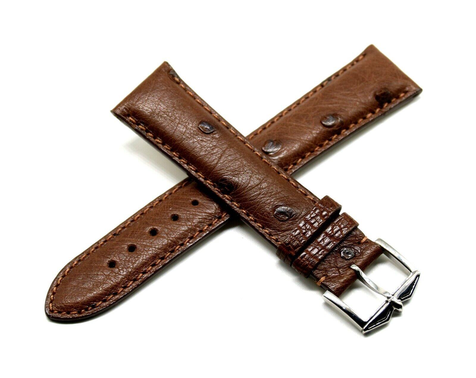 Rotary 21 mm Echt Straußenleder Uhrenarmband Braun mit Edelstahl Dornschliesse