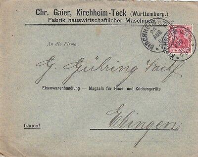 KIRCHHEIM-TECK, Briefumschlag 1905, Chr. Gaier Fabrik hauswirtschaftlicher Masch