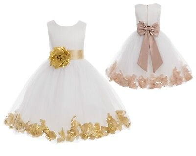 Flower Girl Dress Rose Petals Dresses Communion Dress Wedding Pageant Dresses - First Communion Flower Girl Dresses