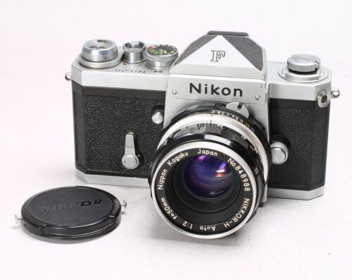 NIKON F EYE LEVEL PRISM FINDER 35MM SLR CAMERA #6926882 + NIKKOR-H 50MM F/2 LENS
