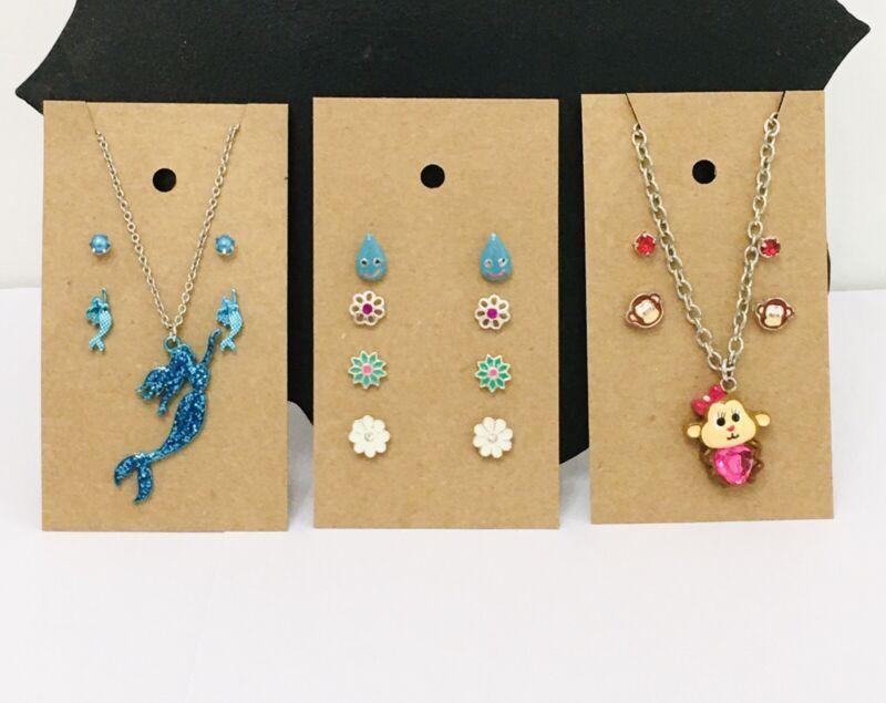 10 Pc Girl Teen Necklace Sets Lot Earrings Blue Glitter Mermaid Flowers Monkey
