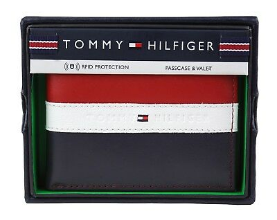 Tommy Hilfiger Men's Leather Wallet Passcase Billfold Rfid Red Navy (Tommy Hilfiger Red)