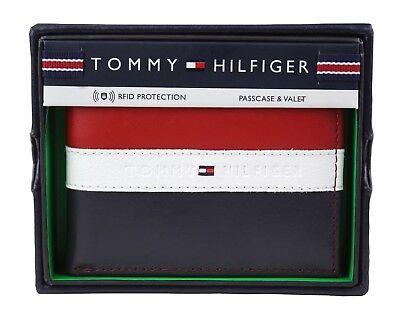 Tommy Hilfiger Men's Leather Wallet Passcase Billfold Rfid Red Navy 31TL220053 (Passcase Billfold Wallet)