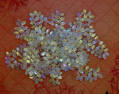 LOOSE CZECH PRESSED GLASS BEADS-LEAVES-CLEAR-AURORA BOREALIS-20 BEADS-FREE GIFT