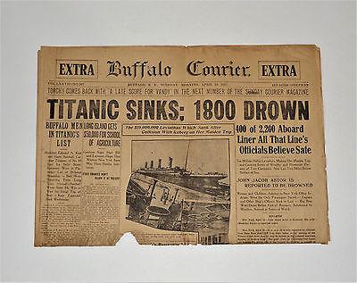 APRIL 16 1912 ORIGINAL NEWSPAPER RMS Titanic Sinks 1800 Drown BUFFALO NY CURRIER