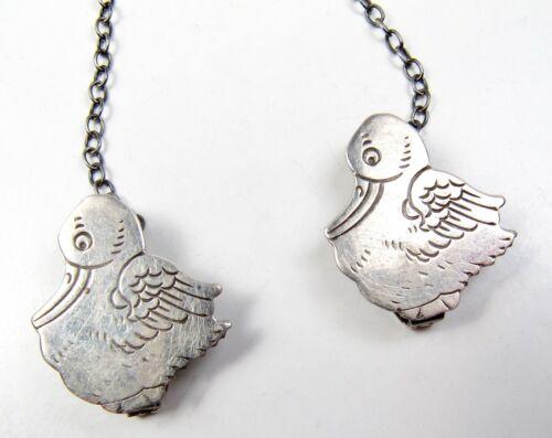 Vintage Webster Sterling Silver Pelican Bird Baby Bib Holder Chain Guard Antique