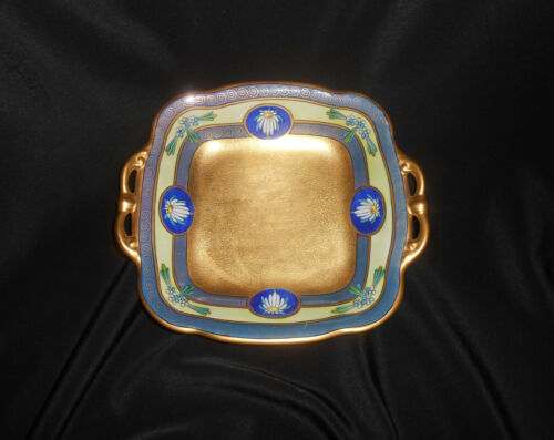 W.A. Pickard Hand Painted Art Deco Double Handle Dish Heavy Gold Gilt 1912-1918