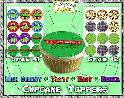 Teenage Mutant Ninja Turtles Edible cupcake Toppers birthday paper image sugar (Edible Ninja Turtle Cupcake Toppers)