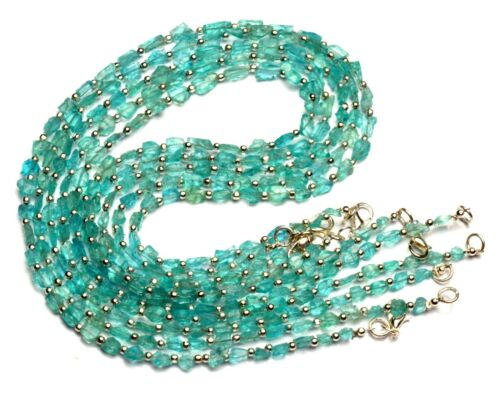 """Natural Green Apatite Gem Rough Unpolished Nugget Beads Necklace 17"""" 40Cts."""