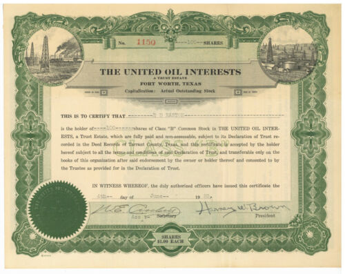 United Oil Interests. Stock Certificate Fort Worth, Texas. 1923