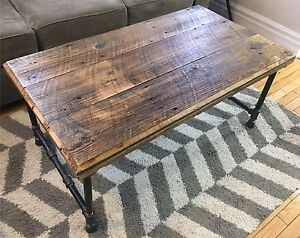 Reclaimed Barn Board Coffee Table on Iron Pipe Frame