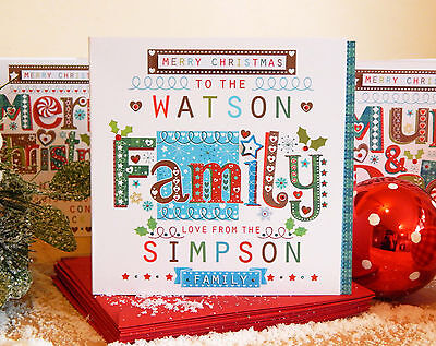 Christmas cards Family PERSONALISED customer christmas card Family to Family.  ()