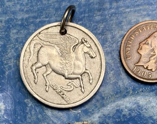 Pegasus Horse Animal Coin Pendant Vintage Silver Equestrian Men Mythological