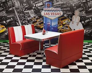 American Diner Furniture 50s Style Retro Booth Table And Red Booth Set