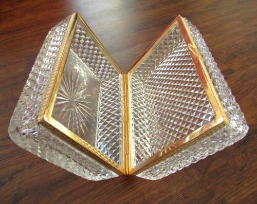 Large French Jewelry Casket Diamond Cut Crystal Box Baccarat Style Ormolu Glass