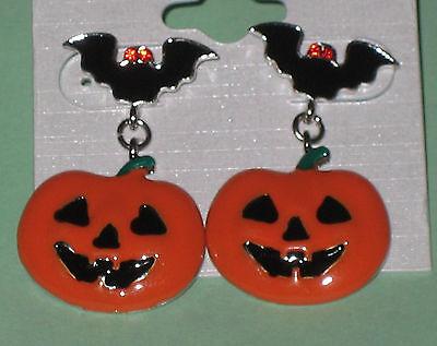 BAT Pumpkin Earrings Halloween Pierced Enamel Crystal Eyes Smiling Carved Face](Carve Pumpkin Face Halloween)