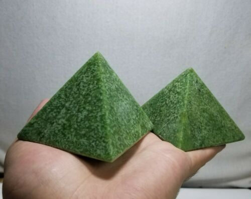 Deep Green natural Rare Hydrogrossular Garnet Crafted Pyramids 2 PCS 550 g