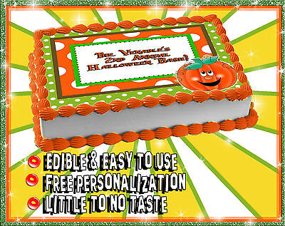 Halloween cake topper Edible image sugar decal picture party sheet paper fall  - Halloween Party Cake
