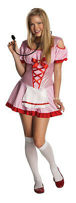 Nurse Costume Candy Striper Fancy Dress Girls Juniors Teens Petite Womens NEW