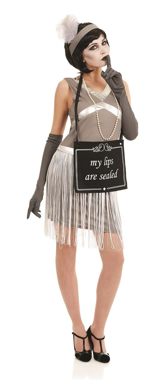 Ladies 1920s Silent Movie Flapper Hen Do Fancy Dress Costume Outfit