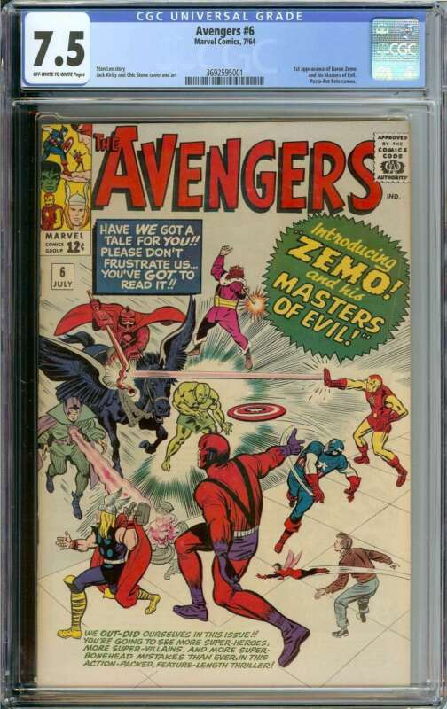 AVENGERS #6 CGC 7.5 OW/WH PAGES