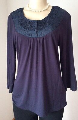 Anthropologie One September Medium Blue Embroidered Detail Rayon Blend Guc