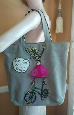 BETSEY JOHNSON BETSEYVILLE Vintage Gray Denim RIDE WITH ME Tote Bag