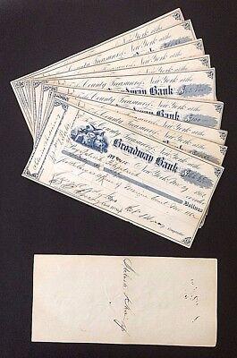WHOLESALE 10 NEW YORK CITY CIVIL WAR MAYOR GENUINE HAND SIGNED CHECKS DATED 1862