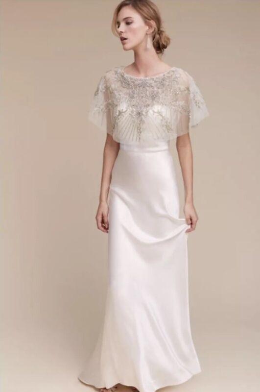 NEW $290 BHLDN Althea Beaded Cape Topper Wedding Bride Lotus Thread