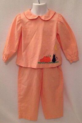 MONDAY'S CHILD Orange Gingham Halloween Outfit Pant Set Sz 3 Pumpkin Black Cat - Black Cat Halloween Outfit