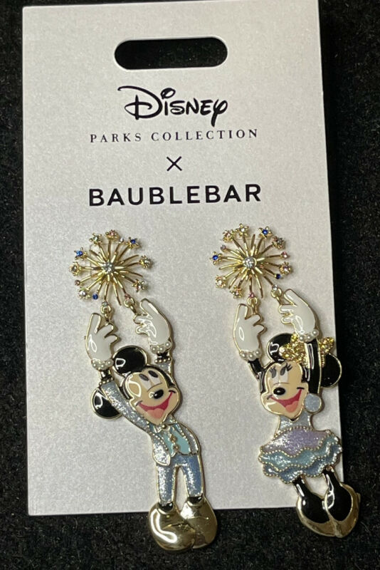 Disney 50th Anniversary Baublebar Mickey And Minnie Earrings Set New In Hand