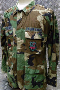 Genuine US Army Woodland Camouflage Vintage Ripstop Shirt. Size - X-Small Short
