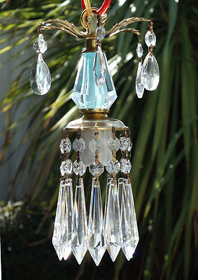1of3 Vintage lantern mini Blue aqua Brass hanging lamp chandelier crystal prism