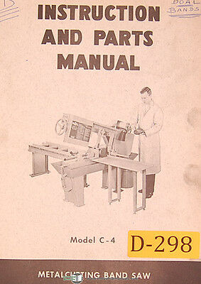 Doall C-4 Metal Cutting Band Saw Instructions And Parts Manual 1967