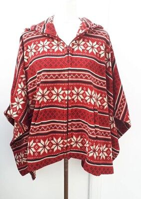 UNI QLO Ladies One Size Red Black Hooded Zip Fleece Poncho Cape Cardigan Curve Red Hooded Capes